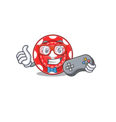 Smiley gamer gambling chips cartoon mascot style vector