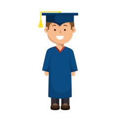 Student man graduated isolated icon vector