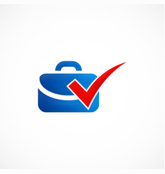 suitcase travel bag check logo vector image