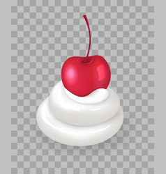Swirl of whipped cream with ripe cherry on top vector