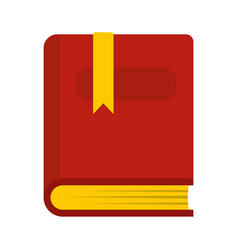 thick book with bookmark icon flat style vector image vector image