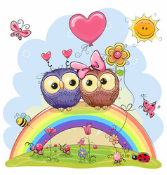 two owls are sitting on the rainbow vector image