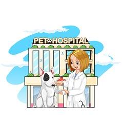 Vet and pet dog at pet hospital vector
