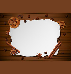 vintage frame cinnamonbiscuit on wooden table vector image
