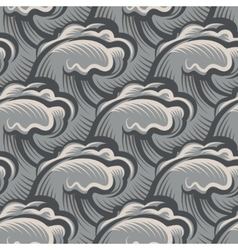 Vintage seamless ocean waves pattern vector image