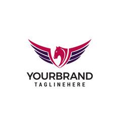 wing horse logo design concept template vector image