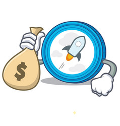 With money bag stellar coin character cartoon vector