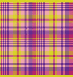 Yellow pink check madras seamless fabric texture vector