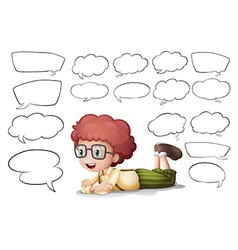 A boy and the different shapes of callouts vector image vector image
