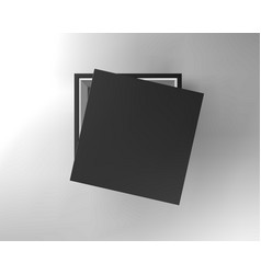 black empty box on black background top view vector image