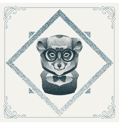 Halftone hipster lemur with black Dots vector image