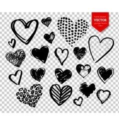 Hand drawn grunge Valentine hearts vector image vector image
