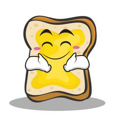 happy face bread character cartoon vector image vector image