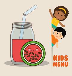 kids menu children watermelon juice diet vector image vector image