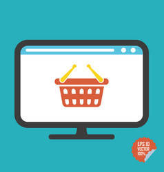 shopping basket on screen flat icon vector image vector image