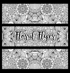 horizontal floral flyer with handdrawn pattern vector image