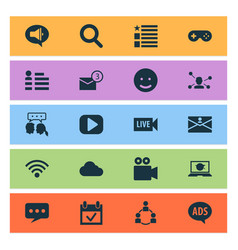 Internet icons set with overcast contact vector