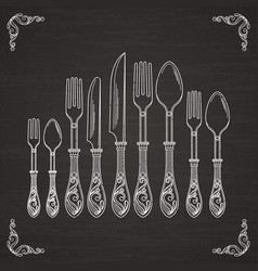 pictures of spoon fork and knife vector image vector image