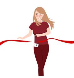 running girl win race pass red ribbon vector image