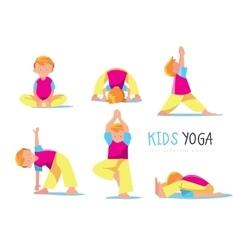 Yoga kids set vector image