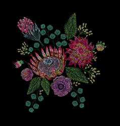 embroidered composition with wild and garden vector image