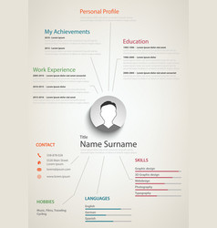 professional retro resume cv with background links vector image vector image