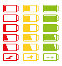 battery flat icon set isolated on vector image