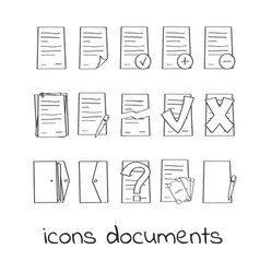 hand draw icons of documents and contracts vector image