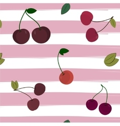 Print cherry pattern on striped background vector image vector image