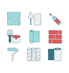 set of line icons for DIY finishing vector image