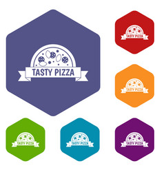 tasty pizza sign icons set hexagon vector image vector image