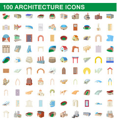 100 architecture icons set cartoon style vector image
