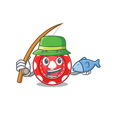 A picture happy fishing gambling chips design vector