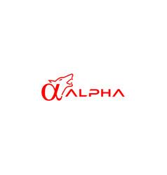 Alpha wolf logo design vector