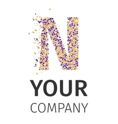 Alphabet particles logotype letter-n vector