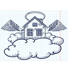 Angel house doodle version vector