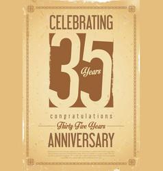 anniversary retro background 35 years vector image