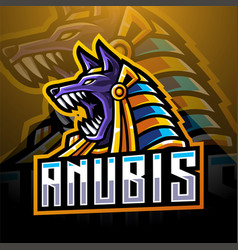 Anubis head esport mascot logo design vector