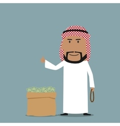 Arabian businessman with full bag of money vector image