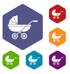 Baby carriage icons set hexagon vector