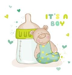 Baby shower or arrival cards - cute bear vector