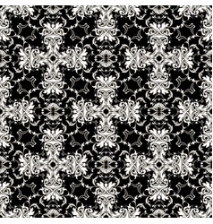 baroque damask black and white antique vector image