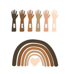 Black lives matter with raising hands vector