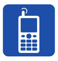 blue white information sign - old mobile phone vector image