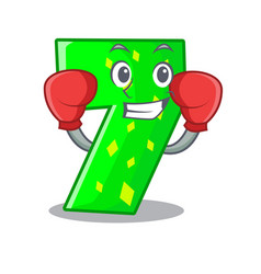 Boxing character paper cut number seven letter vector