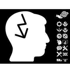Brain Electric Strike Icon With Tools Bonus vector