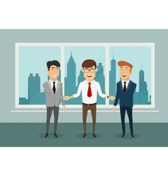 Businessmen shaking hands in modern office vector image