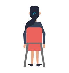 Businesswoman seated on chair backward vector