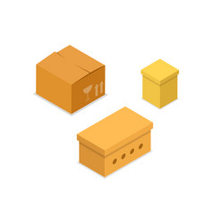 cardboard boxes isometric 3d icon vector image