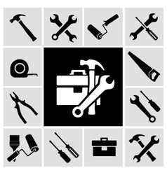 Carpenter tools black icons set vector